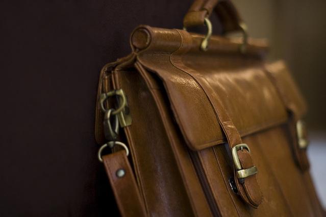 Hnedá kožená taška, aktovka